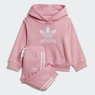Conjunto sudadera con capucha y pantalón Trefoil Light Pink / White DV2810