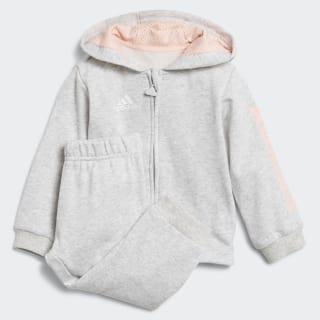Linear Hooded joggingdragt Light Grey Heather / Haze Coral / White DJ1583