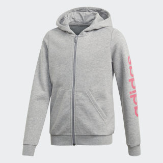 Hoodie Linear Medium Grey Heather / Real Pink EH6125