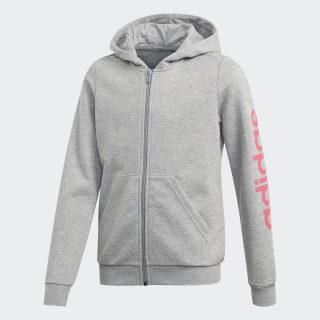 Linear Hoodie Medium Grey Heather / Real Pink EH6125