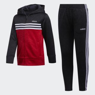 Mélange Hooded Jacket Set Black/Red CM5369