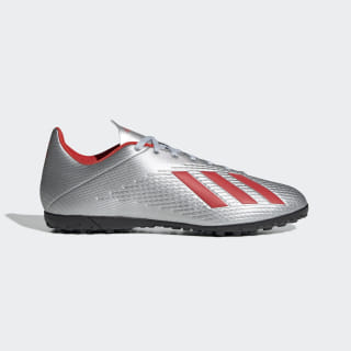 Calzado de Fútbol X 19.4 Césped Artificial Silver Metallic / Hi-Res Red / Cloud White F35344
