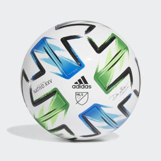Balón MLS Nativo XXV Pro White / Samba Blue / Solar Green / Silver Metallic FH7319