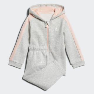 Conjunto Linear Hooded Fleece LIGHT GREY HEATHER/HAZE CORAL/WHITE LIGHT GREY HEATHER/WHITE/HAZE CORAL S17 DJ1547