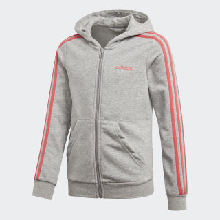 Essentials 3-Stripes Hoodie Medium Grey Heather / Prism Pink DV0370