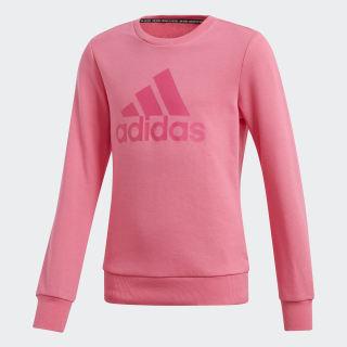 Blusa Moletom Must Haves Badge of Sport Crew Semi Solar Pink / Real Magenta DV0322