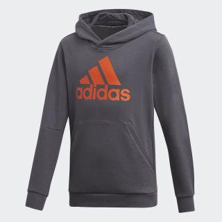 Sudadera con capucha Must Haves Badge of Sport Grey Six / Active Orange DV0826