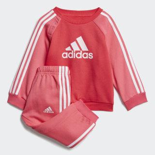 Флисовый комплект: свитшот и брюки Logo active pink / real pink s18 / white ED1178