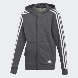 Jaqueta Capuz Essentials 3-Stripes DARK GREY HEATHER/WHITE DJ1747