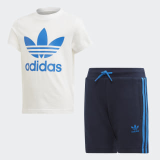 Trefoil Shorts and Tee Set White / Bluebird EJ9377