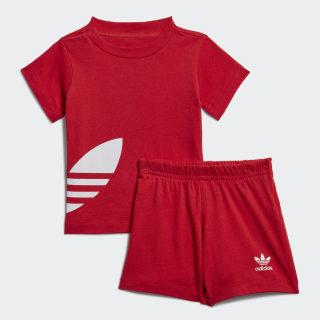 Big Trefoil Shorts und T-Shirt Set Lush Red / White FM5610