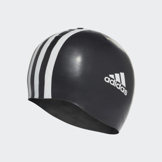 3 stripes silicone swim cap Black/White 802310