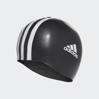 3 stripes silicone swim cap Black/White 802310