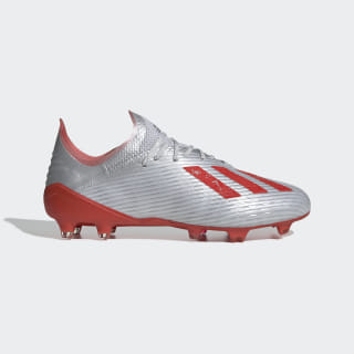 X 19.1 Firm Ground Cleats Silver Metallic / Hi-Res Red / Cloud White F35315