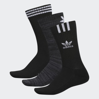 Graphic Logo Crew Socks 3 Pairs Black CL5005