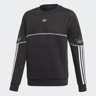 Outline Crew Sweatshirt Black / White / Silver Metallic FM4463