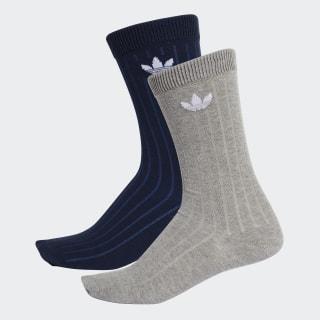 Mid Ribbed Crew Socks 2 Pairs Collegiate Navy / Medium Grey Heather DV1426