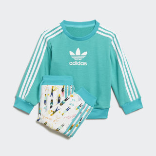 Комплект: свитшот и брюки Hi-Res Aqua / White ED7704