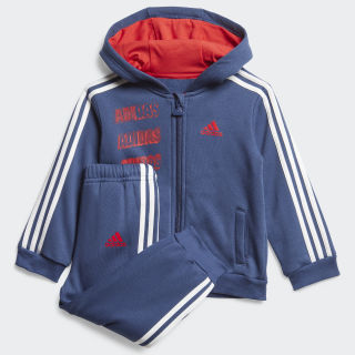 Hooded Fleece Jogger Set Tech Indigo / Vivid Red / White FM6385