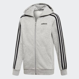 Bluza z kapturem Essentials 3-Stripes Medium Grey Heather / Black DV1802