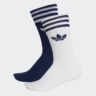 Solid Crew Socks 2 Pairs Dark Blue / White DW3936