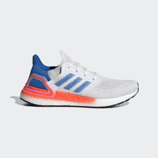 Ultraboost 20 Shoes Crystal White / Glow Blue / Solar Red EG0708