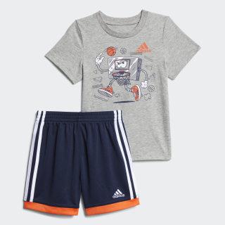 Graphic Cotton Shorts Set Grey CM6689