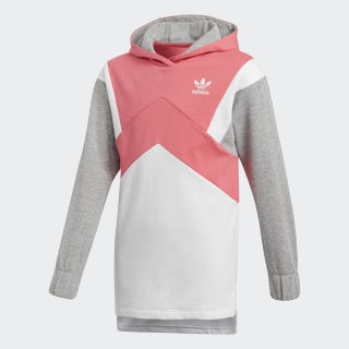 French Terry Hoodie Real Pink / White / Medium Grey Heather CY2340