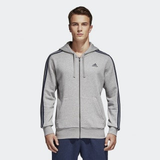 Essentials 3-Stripes Fleece Hoodie Medium Grey Heather/Collegiate Navy S98790