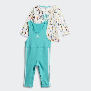 Комплект: футболка и комбинезон multicolor / hi-res aqua ED7705