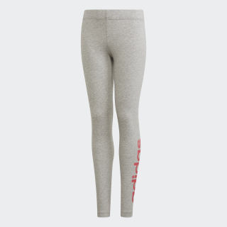 Essentials Linear Leggings Medium Grey Heather / Real Pink EH6176