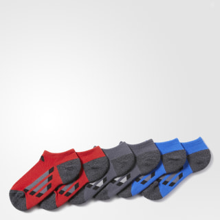 Vertical Stripe No Show Socks 6 Pairs Scarlet BH9778