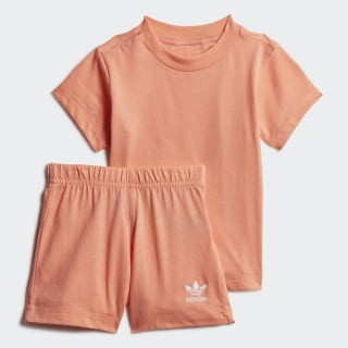 Big Trefoil Short en T-shirt Set Chalk Coral / White FM5599