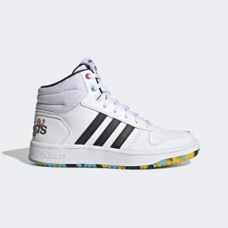 Chaussure Hoops 2.0 Mid Cloud White / Core Black / Scarlet EG1989