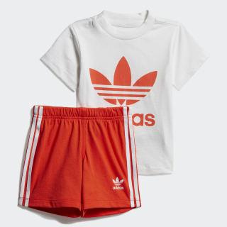 Conjunto Camiseta y Shorts Trifolio White / Active Orange DV2814