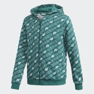 Trefoil Monogram hoodie Noble Green / White DH2695