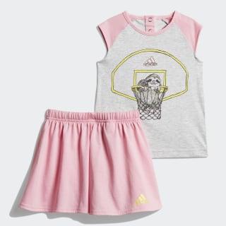 Комплект: футболка и брюки Animal light grey heather / light pink / shock yellow DV1257