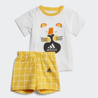 Conjunto para niños JOGGER FAVOURITES Top:white/active gold Bottom:ACTIVE GOLD F19/WHITE ED1136