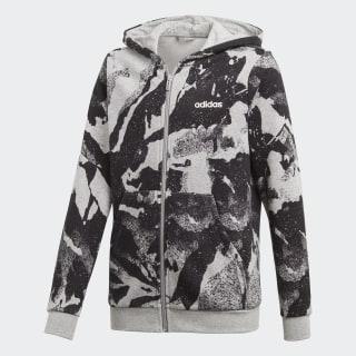 Chamarra con gorro Essentials Allover Print medium grey heather / black / white DV1789
