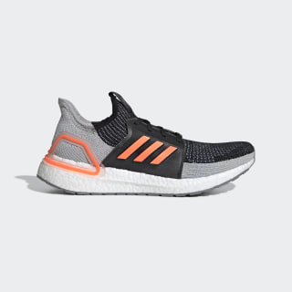 Кроссовки для бега Ultraboost 19 core black / solar orange / glow blue G27516