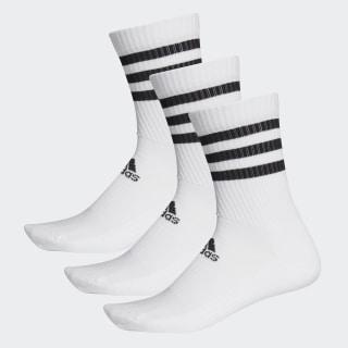 Meias de Cano Médio Acolchoadas 3-Stripes – 3 pares White / White / White DZ9346