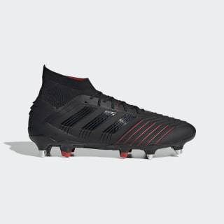 Bota de fútbol Predator 19.1 césped natural húmedo Core Black / Core Black / Active Red G26979