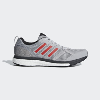 Adizero Tempo 9 Shoes Grey / Hi-Res Red / Carbon BB6651