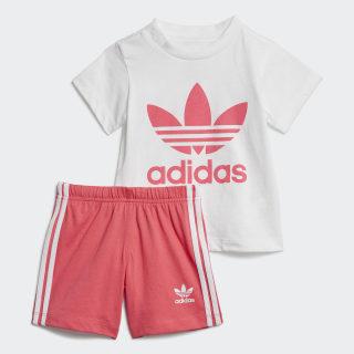 Conjunto Calções e T-shirt Trefoil White / Real Pink ED7668