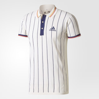 Hommes Pharrell Williams NY Stripe Polo Shirt Ltd Chalk White/Dark Blue BQ4769