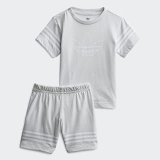 Outline Shorts Tee Set Clear Grey / White FM4446
