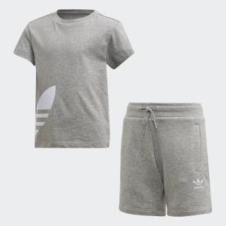Conjunto Calções e T-shirt Big Trefoil Medium Grey Heather / White FT8810