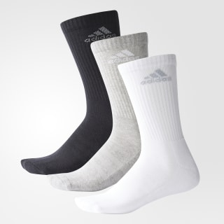 3-Stripes Performance Crew Socks Black / Medium Grey Heather / Light Grey AH9867