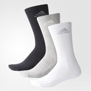 Meias de Cano Médio 3-Stripes Performance – 3 pares Black / Medium Grey Heather / Light Grey AH9867