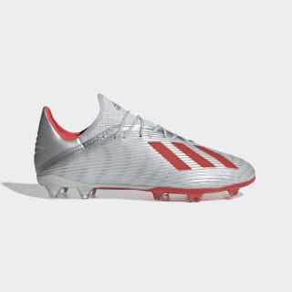X 19.2 Firm Ground Cleats Silver Metallic / Hi-Res Red / Cloud White F35386